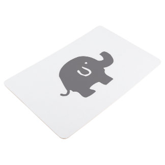 Cute Elephant Grey And White Floor Mat
