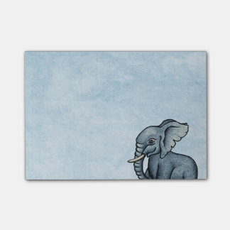 Cute Elephant on Blue Post-It Notes