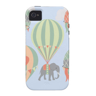 Cute Elephant Riding Hot Air Balloons Rising Case-Mate iPhone 4 Covers