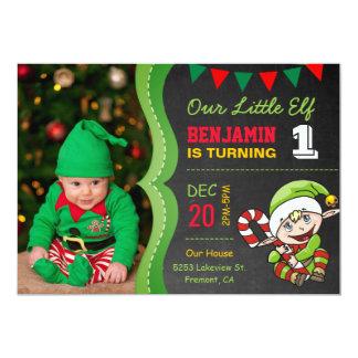 Cute Elf First Christmas Birthday Party Invitation