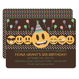 Cute Emoji Birthday Party Invitation