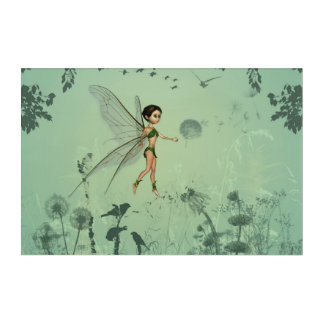 Cute fairy flaying  and playing with a dandelion acrylic wall art