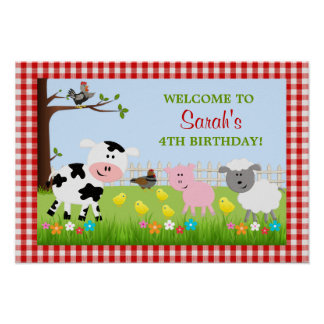 Cute Farm Animals Birthday Party Poster