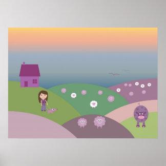 Cute Farm Animals & Girl Walking Dog Pretty Custom Poster