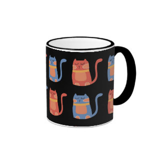 Cute Fat Cats in Pink and Blue Gifts for Cat Lover Ringer Coffee Mug