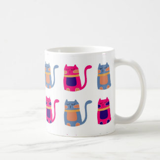 Cute Fat Kitty Cats Pink Melon Blue Unique Gifts Basic White Mug