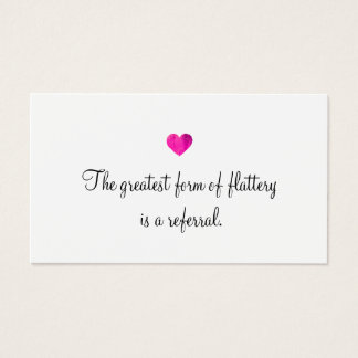 Cute Faux Pink Foil Heart Customer Referral Card