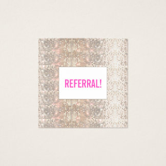 Cute Faux Silver Sequin Pink Beauty Salon Referral Square Business Card