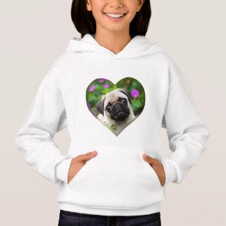 Cute Fawn Coloured Pug Puppy Dog Face Photo Heart