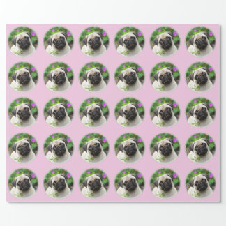 Cute Fawn Coloured Pug Puppy Dog Photo - Gift Wrapping Paper