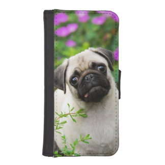 Cute fawn pug puppy dog photo - iPhone SE/5/5s wallet case