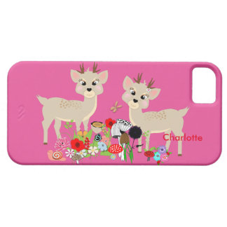Cute Fawns Spring Flowers Butterflies Personalized Case For The iPhone 5