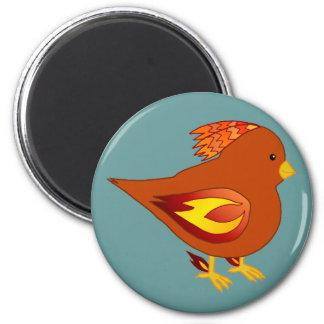 Cute fire bird 6 cm round magnet