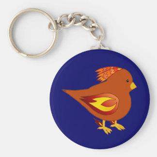 cute fire bird basic round button key ring