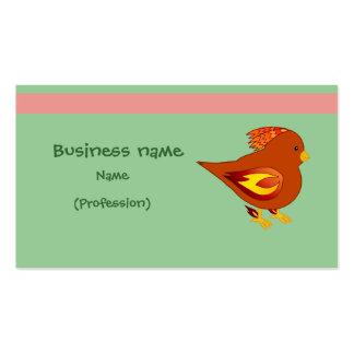 Cute fire bird business card template