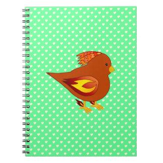 Cute fire bird spiral notebook