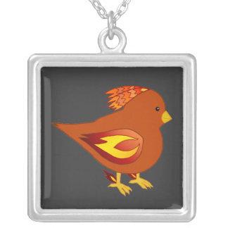Cute fire bird square pendant necklace