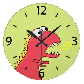 Cute Fire Breath Cartoon T-Rex Dinosaur Kids Wallclock