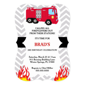 Cute Fire Truck Firefighter Birthday Invitation