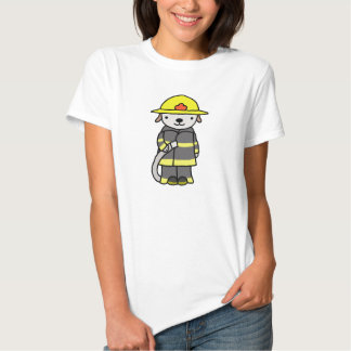 Cute Fireman Woman Puppy Dog Graphic Tee T-shirt