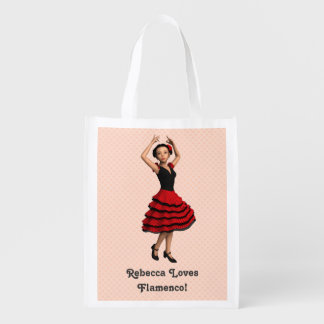 Cute Flamenco Dancer (Personalized) Reusable Grocery Bag