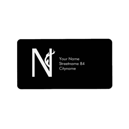 CUTE FLOWER MONOGRAM LETTER N BLACK ADDRESS LABEL
