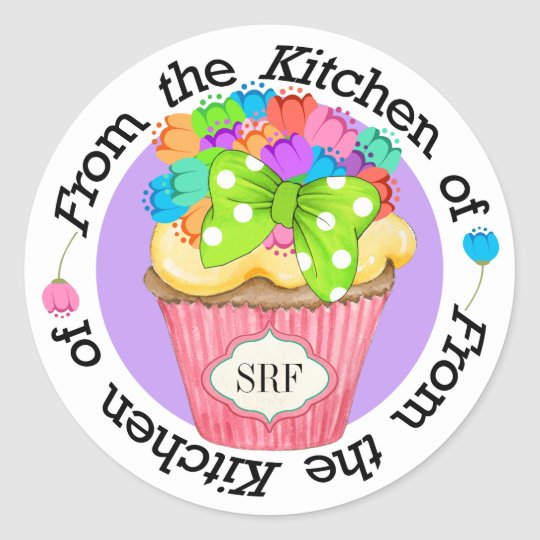 Cute Flowers Cupcake Kitchen Sticker