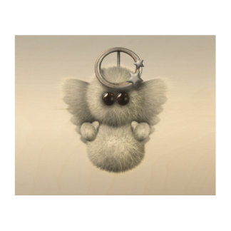 Cute Fluffy Angel Wood Wall Art