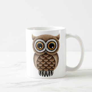 Cute Fluffy Brown Owl on a Branch Basic White Mug