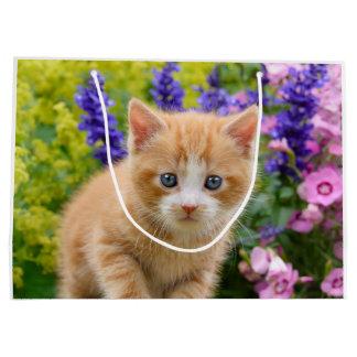 Cute Fluffy Ginger Baby Cat Kitten in Flowers Pet Large Gift Bag