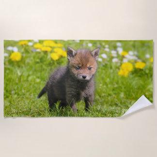 Cute Fluffy Red Fox Kit Cub Wild Baby Animal Photo Beach Towel