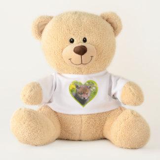 Cute Fluffy Red Fox Wild Baby Animal Photo heart - Teddy Bear