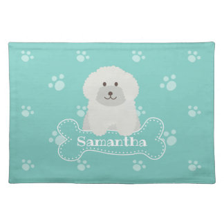 Cute Fluffy White Poodle Puppy Dog Lover Monogram Placemat