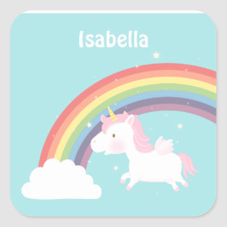 Cute Flying Unicorn Rainbow For Girls Square Sticker