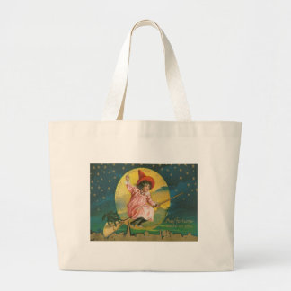 Cute Flying Witch Black Cat Full Moon Large Tote Bag