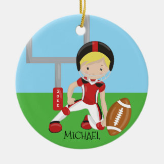 Cute Football Blonde Player Personalized Christmas Round Ceramic Decoration