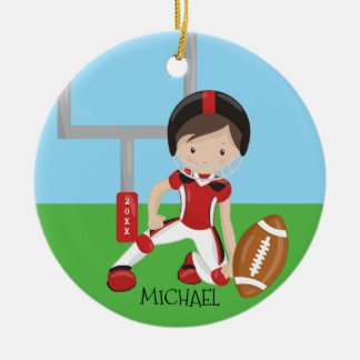 Cute Football Player Personalized Christmas Round Ceramic Decoration