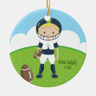 Cute Football Player Personalized Dated Christmas Round Ceramic Decoration