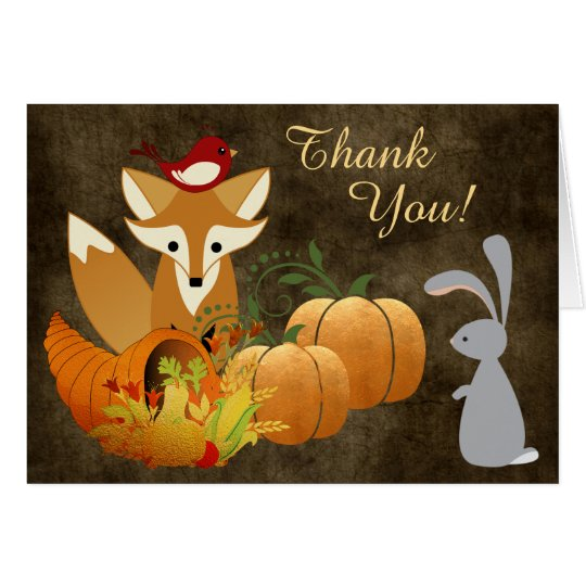 Cute Fox Woodland Animals Golden Autumn Thank You Card