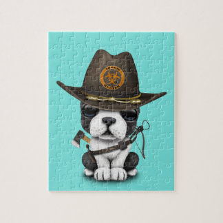 Cute French Bulldog Puppy Zombie Hunter Jigsaw Puzzle