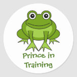 Cute Frog Cartoon - Prince in Training Round Sticker