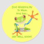 Cute Frog Funny Animal Kids Get Well Soon Round Sticker