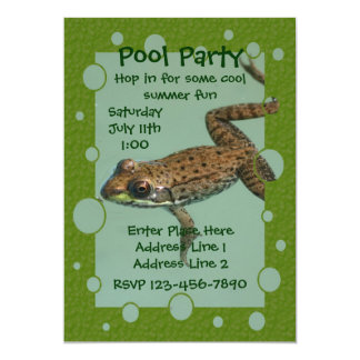 Cute Frog Pool Party Invitation