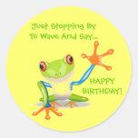 Cute Frog Wave Funny Animal Kids Happy Birthday Round Sticker