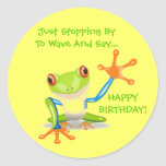 Cute Frog Wave Funny Animal Kids Happy Birthday Round Stickers