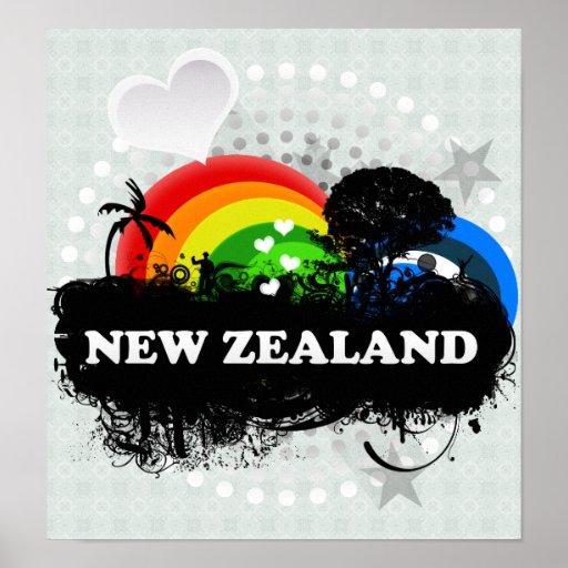 Cute Fruity New Zealand Poster