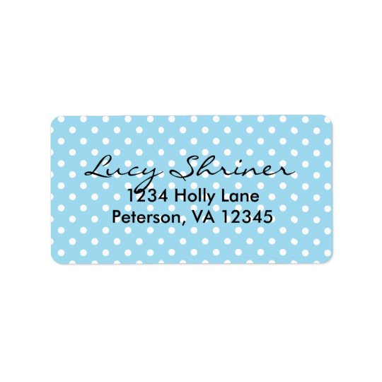 Cute, Fun Blue Polka Dot Pattern Address Label