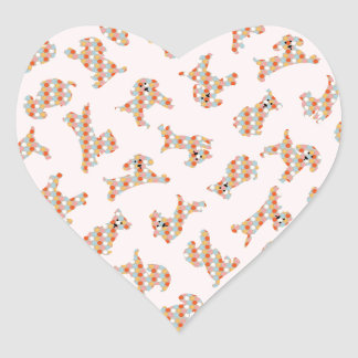 Cute Fun Dogs & Balls Pattern Heart Sticker