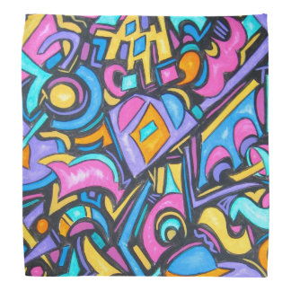 Cute Fun Funky Colorful Bold Whimsical Shapes Bandana