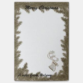 Cute fun trendy Holiday reindeer  monogram Post-it Notes